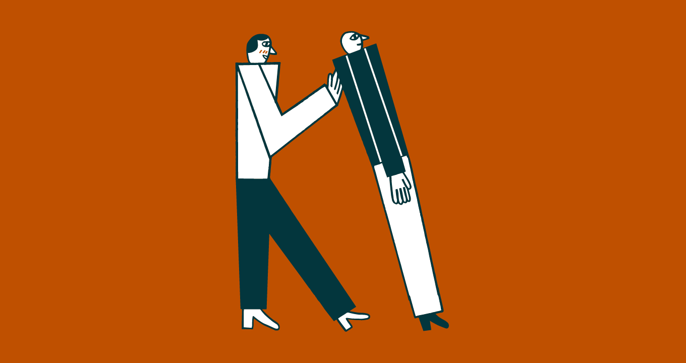 drawn image of a person catching someone in a trust fall