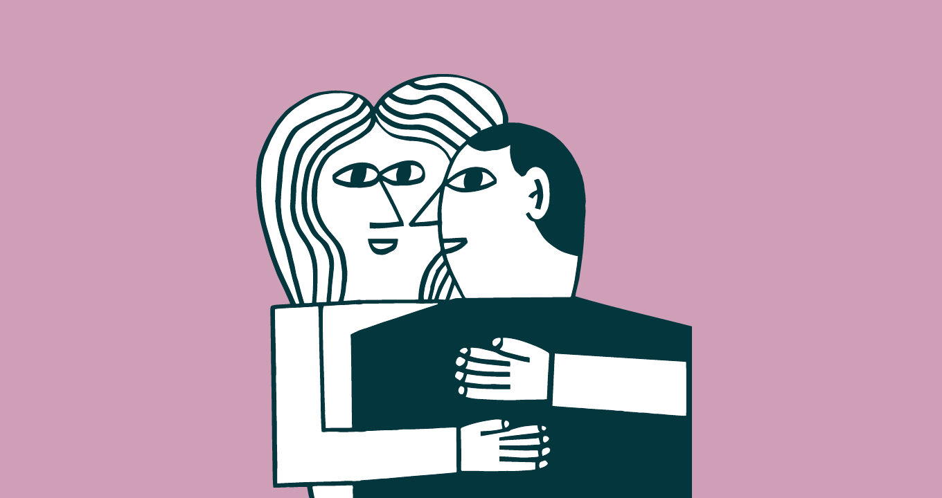 Two figures embracing