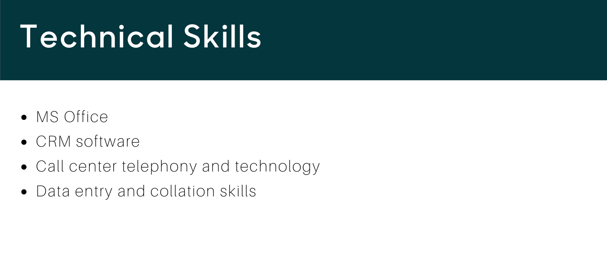 Call Center Resume Technical Skills