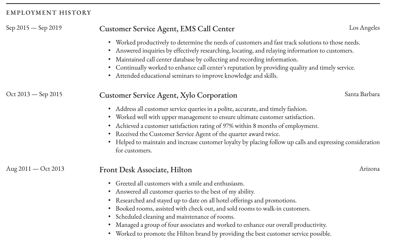 Call Center Resume Employment History