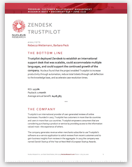 Trustpilot and Zendesk ROI - Nucleus Research