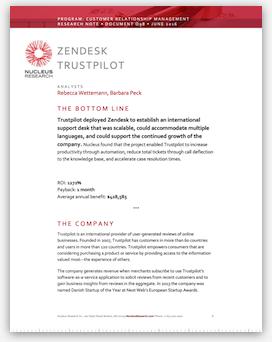 Trustpilot y el ROI generado por Zendesk - Nucleus Research