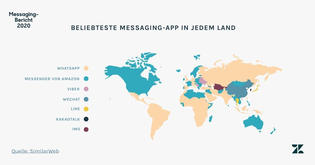 Führende Messaging-App in jeden Land