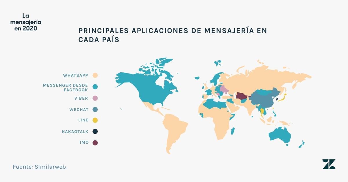 Las principales aplicaciones de mensajería en cada país